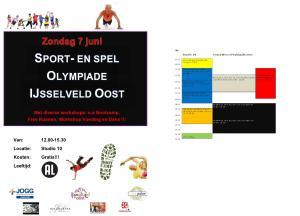 Flyer Sport en Spel Olympiade 7 juni en programma